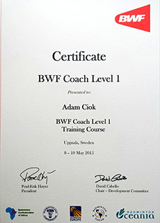 Certyfikat Adam Ciok Badminton World Federation (BWF) Coach Level 1