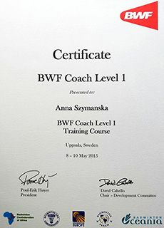 Certyfikat Anna Ciok (Szymańska) Badminton World Federation (BWF) Coach Level 1